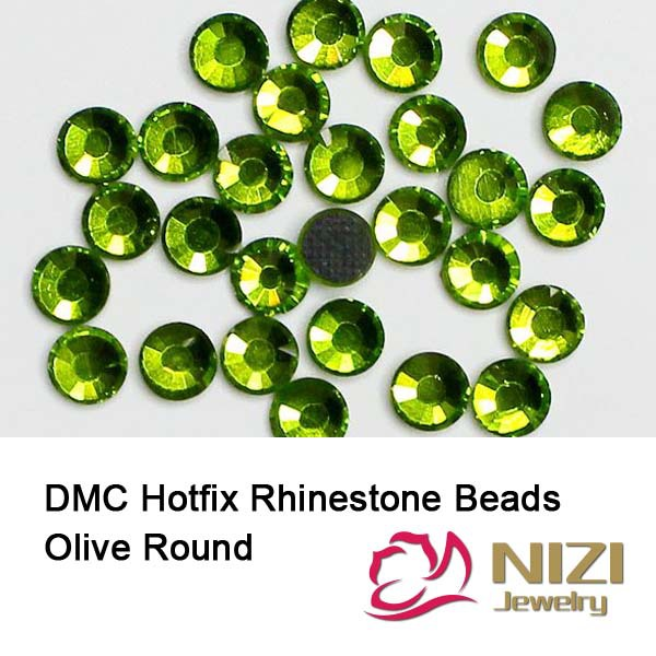 DMC Hotfix Rhinestones Olive Color For Wedding Decorations Round Flatback  Glue Backing Iron On Glass Diamonds DIY Jewelry Making . a18fa7b3a300