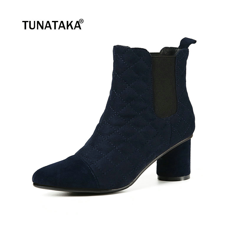 Women Suede Comfort Thick Heel Chelsea Boots Fashion Slip On Ankle Boots Ladies Pointed Toe Autumn Winter Shoes Blue Brown new arrival genuine leather pointed toe fashion winter boots rivets thick heel slip on chelsea boots handmade ankle boots l93