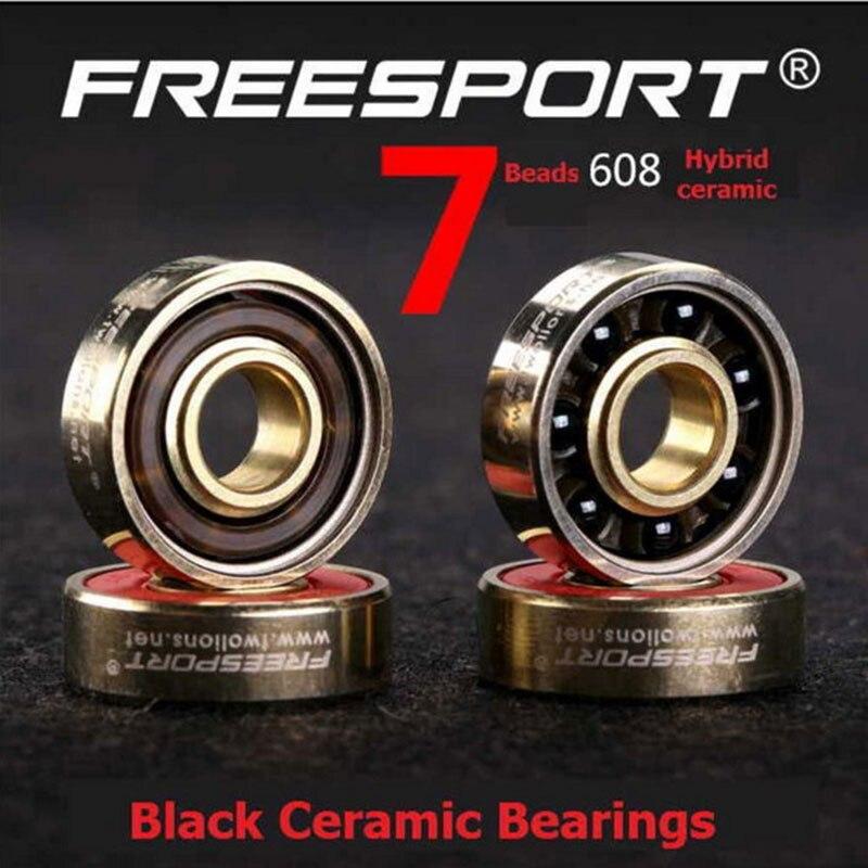 FreeSport 608 Black Ceramic Bearings ABEC 7 Beads 9 High Version Rodamientos Aspectos Skateboard Longboard Roller