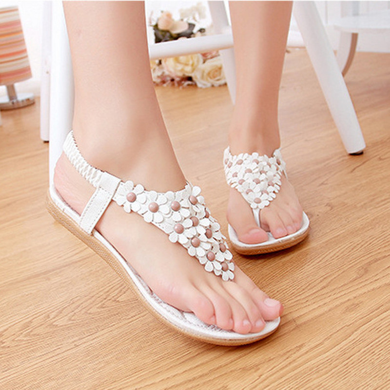 2017 Summer Gladiator Sandals Woman Shoes Bohemia Thong Flat Flower Flip Flops Sandals Flats Sandalias Ladies  Zapatos Mujer summer style ankle tie flat sandals crosscriss rome boho gladiator sandals women flip flops casual shoes woman sandalias mujer