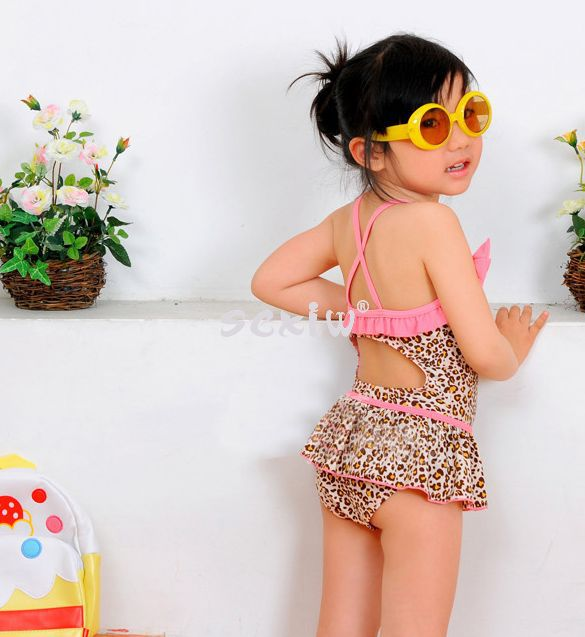 fe23e8d392457 Baby Girls Toddler Swimwear+swim cap Leopard Bikini Kids Bathing Suit  One-Piece Swimsuit