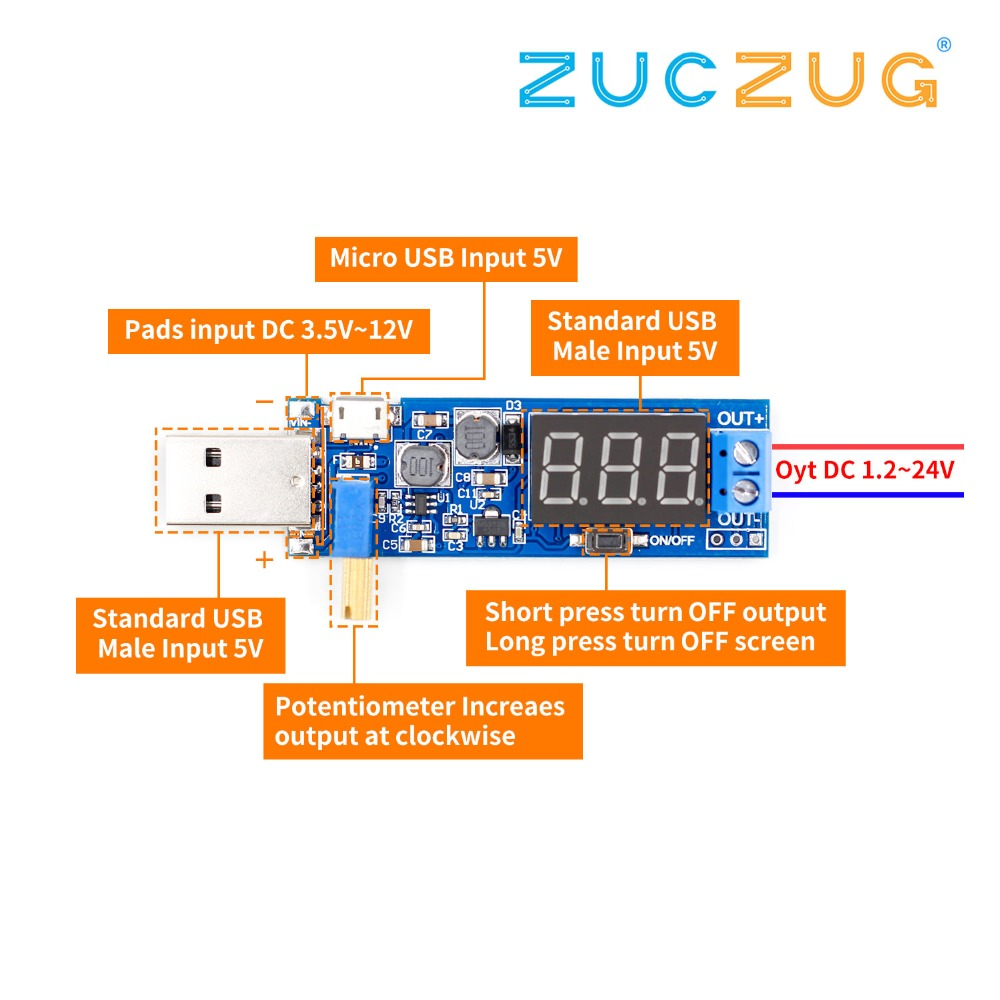 DC-DC 5V To 3.5V / 12V USB Step UP / Down Power Supply Module Adjustable Boost Buck Converter Out DC 1.2V-24V