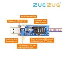 DC DC 5 فولت إلى 3.5 فولت/12 فولت USB خطوة أعلى/أسفل وحدة امدادات الطاقة قابل للتعديل دفعة محول فرق الجهد خارج تيار مستمر 1.2 فولت 24 فولت