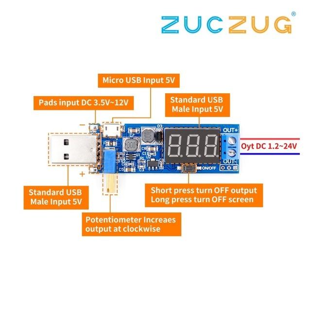 DC DC 5vに 3.5v/12v usbステップアップ/ダウン電源モジュール調整可能なブースト降圧コンバータアウトdc 1.2v 24v
