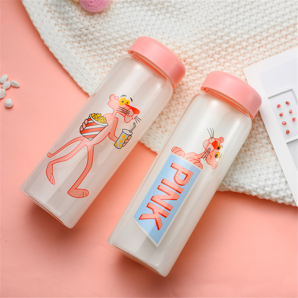 450ml Glass Drink Bottle Cute Cartoon Pink Panther Water Bottles with Insulated Cover Minimalist Milk Coffee Drinkware in Water Bottles from Home Garden