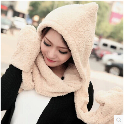 New Thick Warm Winter For Kids  Lovely Lady Double Thick Wool Scarf Hat Gloves Together Lenco Scarf Set Christmas Children's