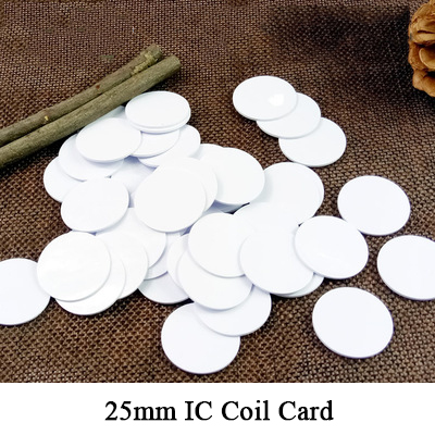 13.56mhz hf coil tag 25mm 3m glue optional round card blank rfid ic s50 mifare 1k read and write 14443a f08 fm1108 sticker s50 ic card 13 56mhz 1024bit 14443a ic tag sticker 1k m1 f1108 mf1