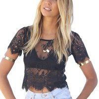 Summer Sexy Women Blusas Femininas Black short Sleeve V Neck Sexy Vintage Lace Blouse Hollow Out Zipper Back Crop Top Clubwear Blouses
