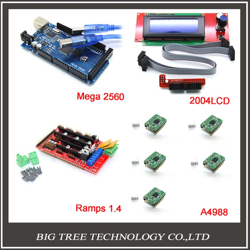3D Printer kit-1pcs Mega 2560 R3 + 1pcs RAMPS 1.4 Controller + 5pcs A4988 Stepper Driver Module +1pcs 2004 controller
