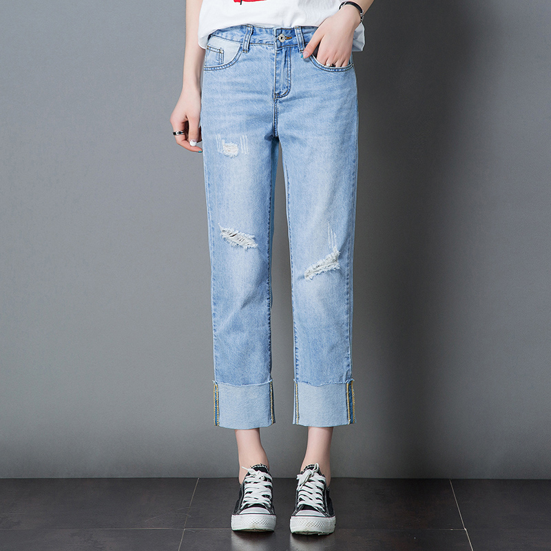 2017 Boyfriend Jeans Straight Pants Women Trousers Casual Plus Size Loose Vintage Denim Pants High Waist Trousers Casual Jeans 2014 new fashion reminisced men vintage trousers casual jeans wash capris pants loose plus size overalls zipper denim jumpsuit