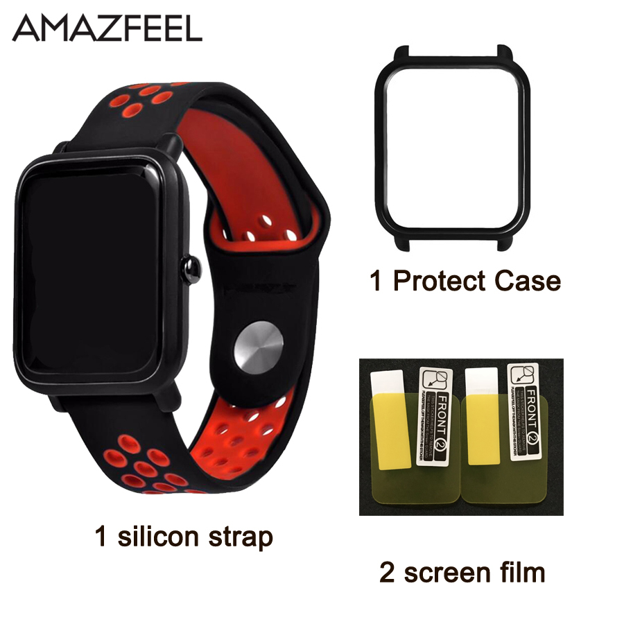 For Xiaomi Huami amazfit bip Youth strap Smart Watch Silicon wristband Replacement watch band +Screen film protect Case original replacement strap for xiaomi huami amazfit sport smart watch original replacement wristband for xiaomi huami amazfit