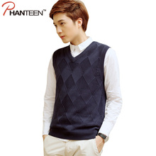 Phanteen V-Neck Slim Fit Man Vests Sleeveless Autumn Knitted Sweaters Casual School Style Pullovers Fashion Men Clothing