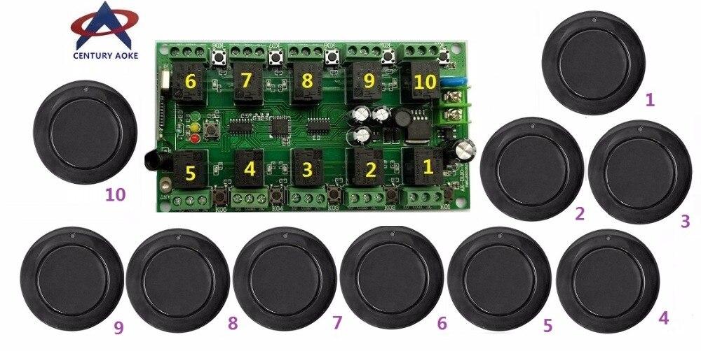 DC12V 10A 10CH RF système de télécommande sans fil 1 récepteur + 10 * émetteurs ronds noirs code d'apprentissage individuel portes/lampe