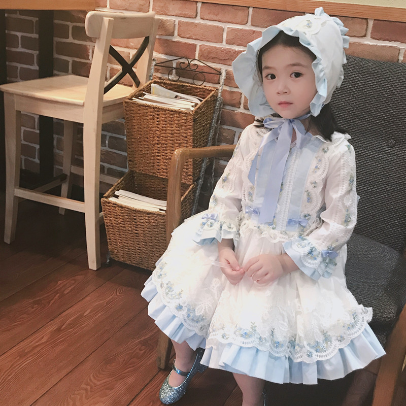 Spring Girls Lolita Vitange Dress Spanish Children's Dresses Baby Girls Quality Madehand Princess Dresses Quality Comfortable