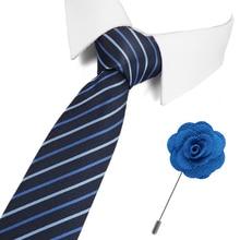 Tie&Pin Set Men Striped Blue Classic Bridegroom Blue Color 7.5 cm Slim Neck Wedding Tie Skinny Dot Tie for Men Corbatas цена 2017
