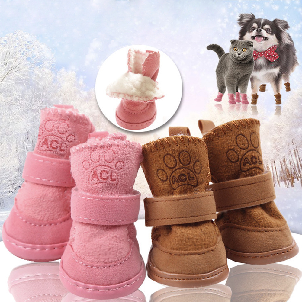 Winter Warm Dog Shoes for Dogs 4Pcs Set Cute Dog Boots For Dog Snow Walking Cotton