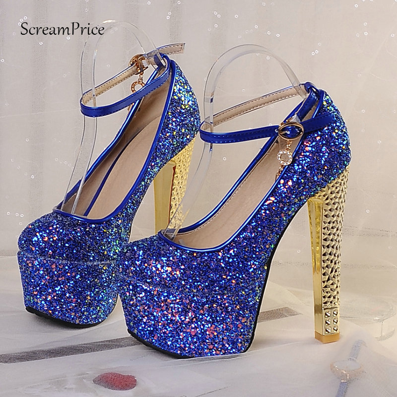 Gorgeous Sequined Women s Platform Pumps Sexy Spuer Square High Heels Buckle Spring Autumn Party Shoes