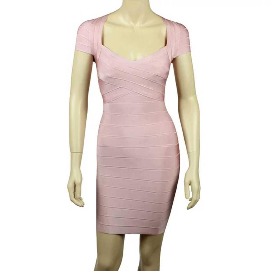 Новый стиль пикантные Для женщин розовый синий мини-повязка платье с v-образной горловиной; элегантные туфли в стиле знаменитостей; вечерние платье с коротким рукавом летнее облегающее платье Vestidos