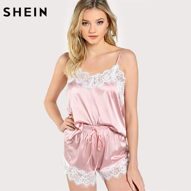 d6a5fad3fc SHEIN Women Sleeping Wear Summer Sexy Pajama Sets Lace Trim Satin Spaghetti  Strap Cami Top and