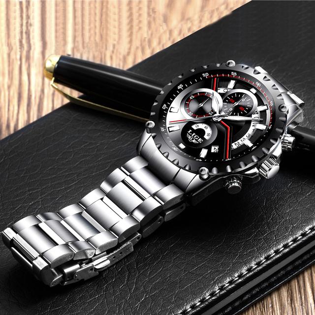 LIGE brand men's fashion openwork date design watch men's sports waterproof quartz watch men's all steel watch Relogio Masculino