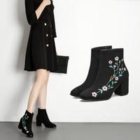 נשים אופנה חורף מגפי קרסול מעצב יוקרה נשים נעלי 2017 אביב סתיו מגפיים גבוהים זמש פאנק שחור אישה נעלי Embroide