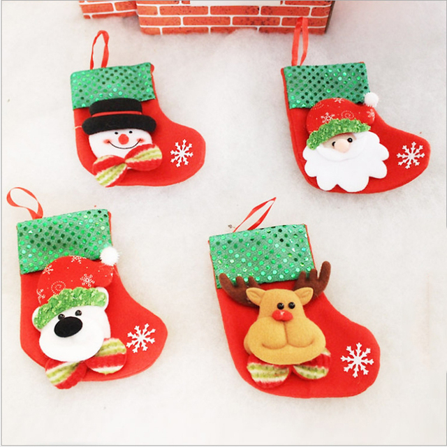 8 pieces lot small sequins christmas stocking christmas decorations