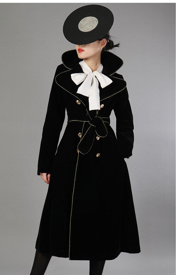 Style Velours Automne D'or Couleurs Vintage Hiver Mode 2018 Outwear Bordure Contraste Femmes Élégant Whitney Manteau Wang Tranchée PqEw7nY