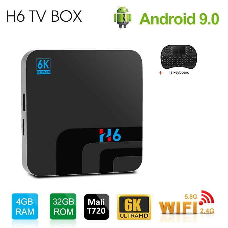 H6 Android 9.0 Smart TV Box 6K Ultra HD2.0 carte SIM USB3.0 2G16G/4G32G Quad Core Media 2.4G WIFI Bluetooth H.265 Smart Media