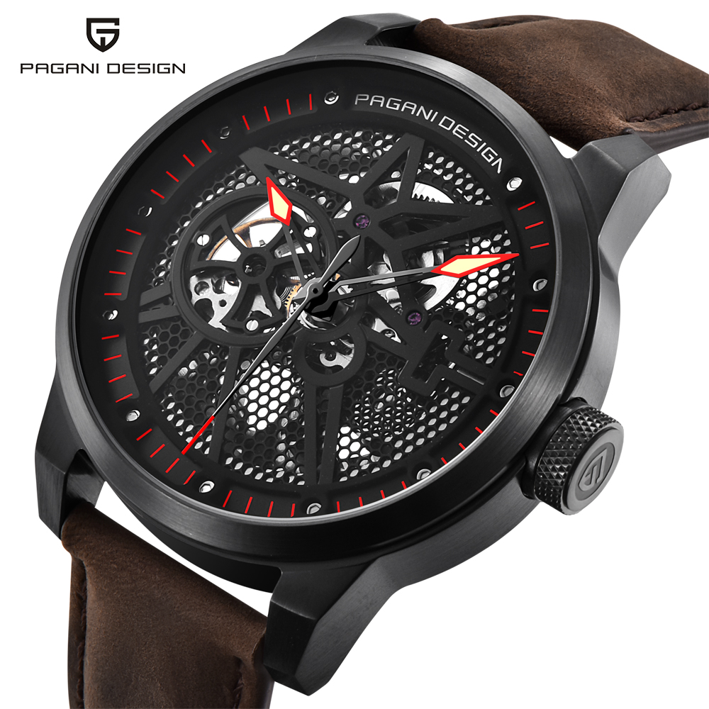 PAGANI DESIGN Men's Skeleton Mechanical Watches Waterproof Genuine Leather Brand Luxury Hollow Automatic Watch Relogio Masculino automatic self wind skeleton watch hollow out dial mechanical watches man leather relogio masculino rome exquisite carved watch