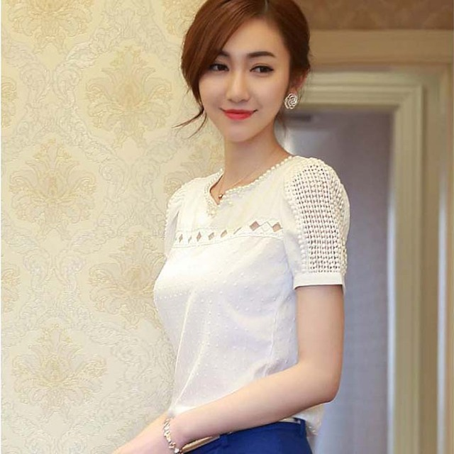 White Lace  Short Sleeve Top for Women