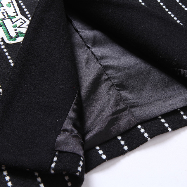 Twods S- 5xl Fashion New Fall Winter Wool Blazer Women One Button Black And White Striped Long Suits Jacket Jaquetas Feminina