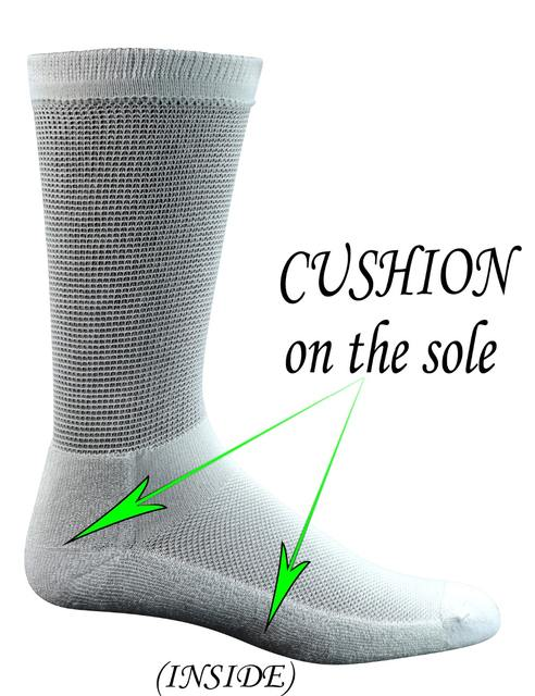 Men's 4 Pairs Bamboo Diabetic Crew Socks with Seamless Toe and Cushion Sole