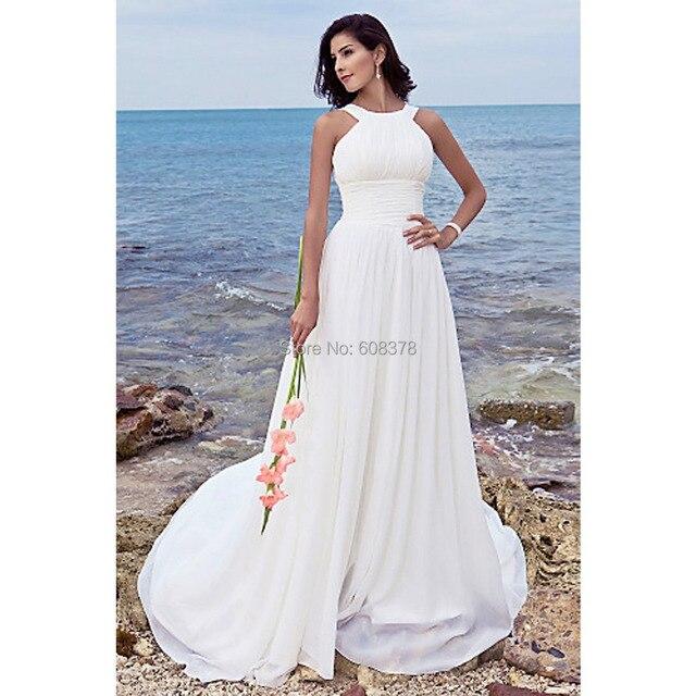 White Beach Wedding Gowns 2015 Comfortable Chiffon Fabric Halter