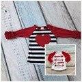 День святого валентина новорожденных девочек полосатый красное сердце три quater хлопок бутик симпатичные топ Футболка осень reglans одежда оборками печати