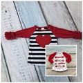 Valentine's Day baby girls striped red heart three quater cotton boutique cute top T-shirt fall reglans clothing ruffles print