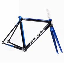 Цунами алюминия фиксированной шестерни вилка рамы 700c x см 52 см 54 Fixie рамки трек высокое качество запчасти для велосипедов