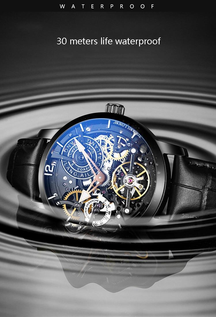 AILANG squelette automatique montres mécaniques pour hommes montre bracelet en cuir et en acier noir Tourbillon horloge étanche hommes montre-in Montres mécaniques from Montres    3