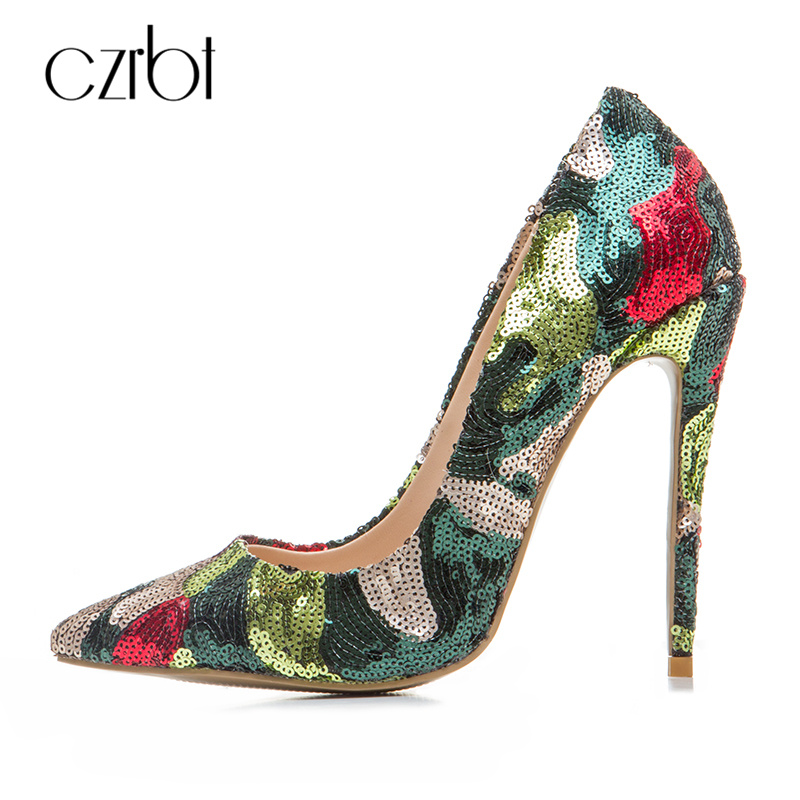 CZRBT 2018 Spring Women Shoes New Fashion Sequined Bling Cloth Skin Top Quality Handmade Women Pumps High Heels 12cm Party Shoes