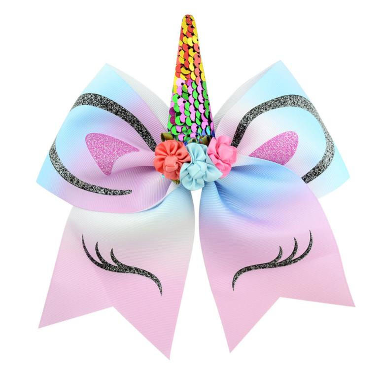 """10 шт 7-"""" девушки блесток Единорог вечерние бантики большой единорог бантики банты для волос с эластичной лентой хвост"""
