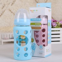 Baby Articles Glass Feeding Bottle High Heat resisting Width Caliber Baby Glass Will Feeding Bottle 240ml 7767