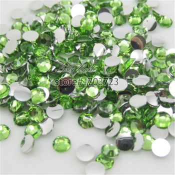 400 pcs 2mm - 6mm Mix Size Light Green Resin Acrylic Round Rhinestone Flatback Crystal Rhinestones Nail Art Decoration N20 image