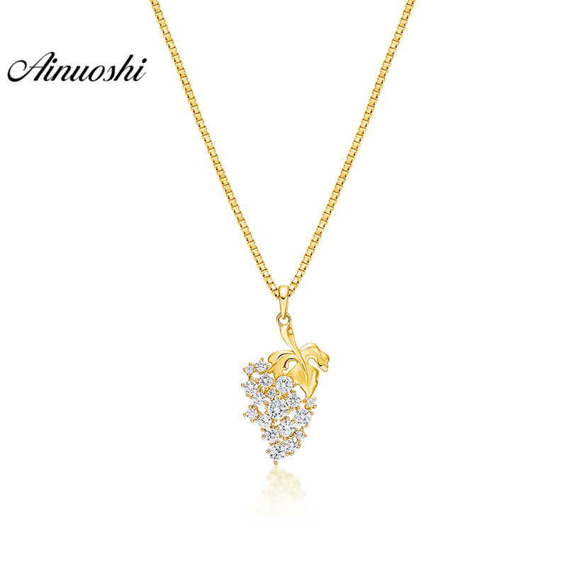 AINUOSHI 10K Solid Yellow Gold Pendant Shining Grape Pendant SONA Diamond Women Men Jewelry Fruit 1.7g Design Separate PendantAINUOSHI 10K Solid Yellow Gold Pendant Shining Grape Pendant SONA Diamond Women Men Jewelry Fruit 1.7g Design Separate Pendant