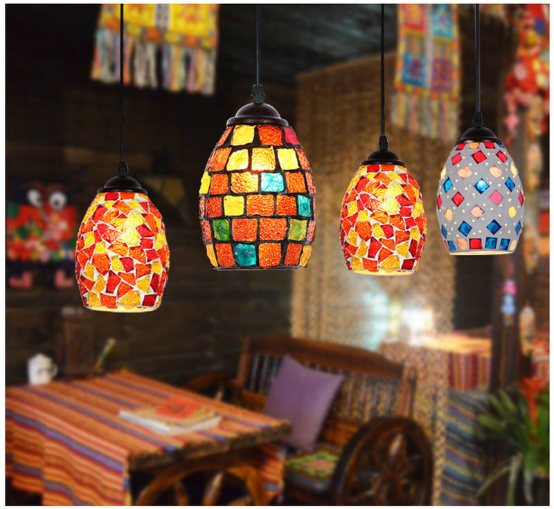 Artpad Moroccan Turkish Style Retro Vintage Pendant Light E27 Base Mediterranean Decoration Mosaic Hanging Lamp 19 Types