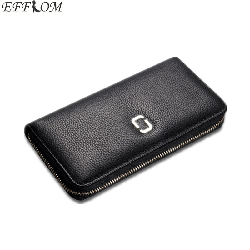 Zipper Genuine Leather Wallet Female Cowhide Money Bag Luxury Brand Women Phone Wallets Large Capacity Ladies Coin Purse Wallet genuine leather men business wallets coin purse phone clutch long organizer male wallet multifunction large capacity money bag