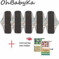Ohbabyka 5 Pza almohadillas reutilizables + 1Mini bolsa húmeda señora bambú almohadilla Menstrual servilleta higiénica Lavable Femmes compresa sanitaria Dropshipping