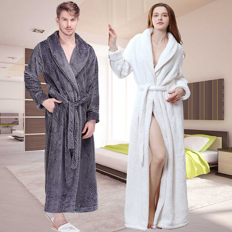 4749adb064 Women Winter Extra Long Thick Grid Flannel Bath Robe Soft Peignoir Sexy  Warm Dressing Gown Men