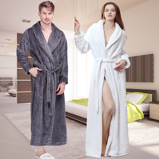 Women Winter Extra Long Thick Grid Flannel Bath Robe Soft Peignoir ...