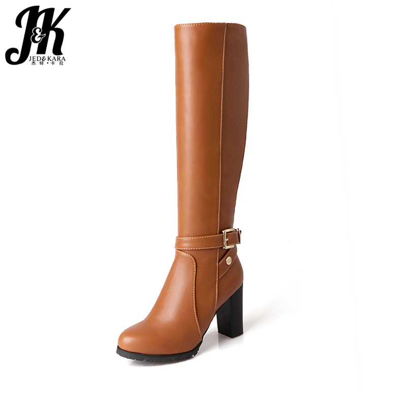 J&K Big Size 34-43 Ladies Knee High Boots Women Thick High Heels Shoes Woman Winter Boots Zipper Buckle Strap Footwear Platform wetkiss buckle knee high boots thick high heels knight boots platform shoes woman autumn winter boots cool winter shoes woman