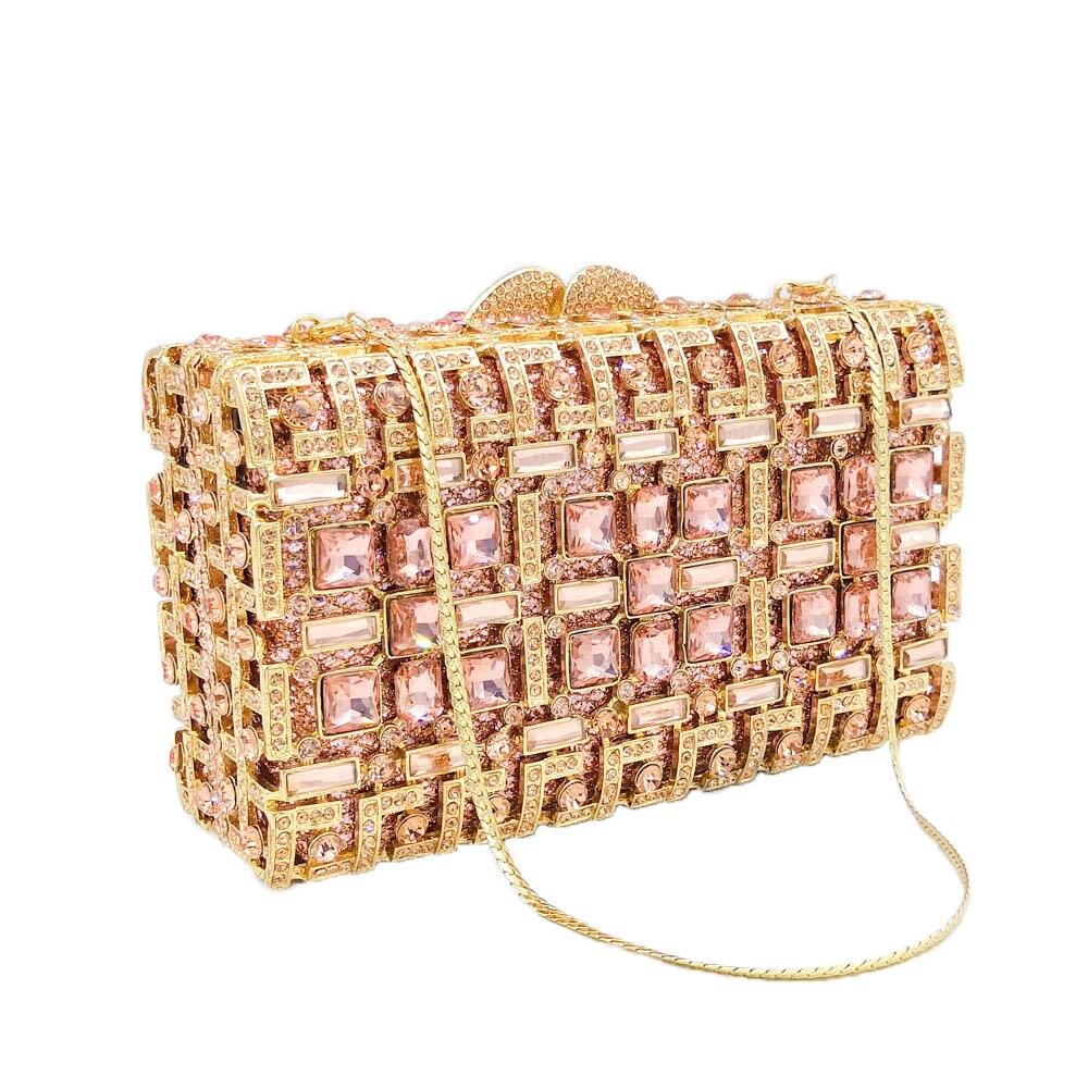 Boutique De FGG Hollow Out Sparkling Diamond Women Evening Minaudiere Handbags Metal Box Clutch Bag Wedding Party Crystal Purses