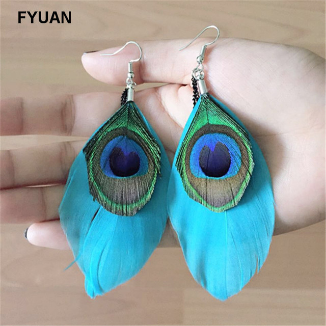 Colorful Peacock Feathers Long Drop Earrings